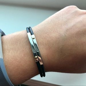 Jewelry - Black, Silver and Gold Rubber Tubing Bracelet